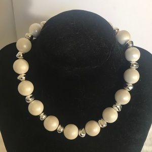 """""""VINTAGE"""" White and Silver Bead Choker Necklace ."""